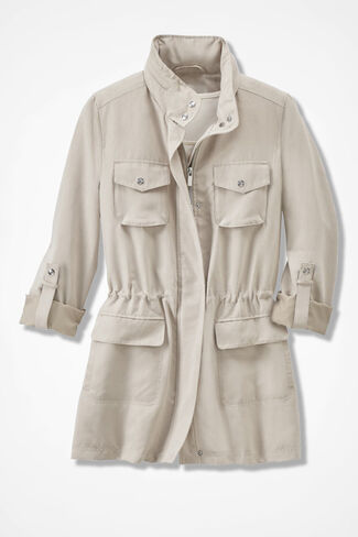 Faux Suede Anorak, Stone, large