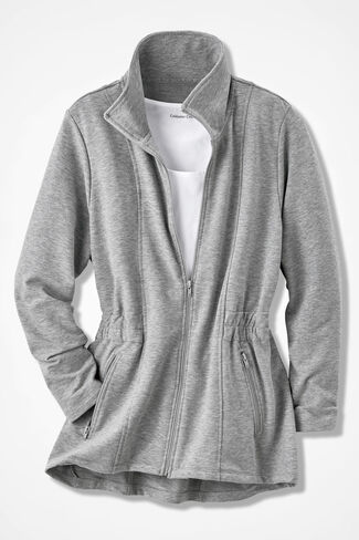Shaped French Terry Jacket, Mid Heather Grey, large