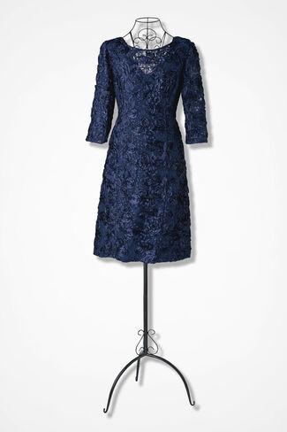 Rosette Romance Dress by Alex Evenings, Navy, large