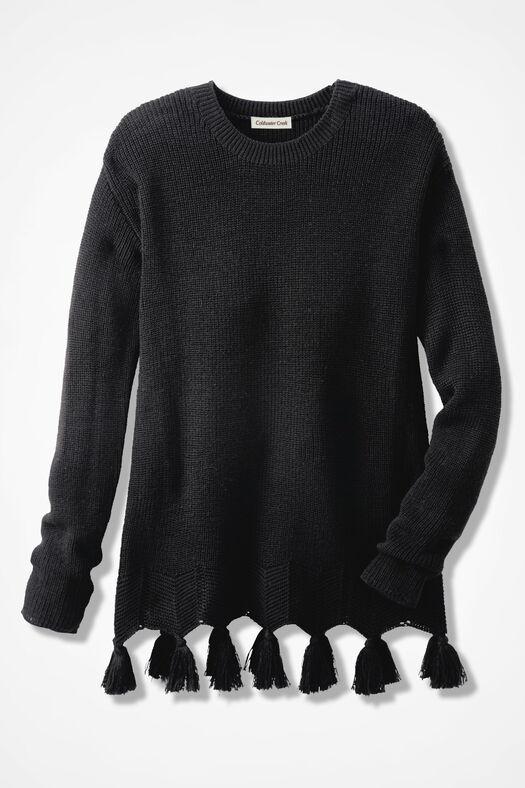 Pompom Perfect Shaker Sweater, Black, large