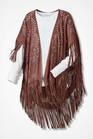 Fascination Faux Suede Shawl, Canyon Rose, large