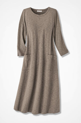 Patch Pocket Knit Dress, Dune, large