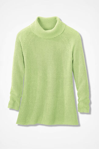 Shaker Turtleneck Tunic, Bright Peridot, large