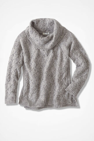Gently Cabled Cowlneck Sweater, Grey, large