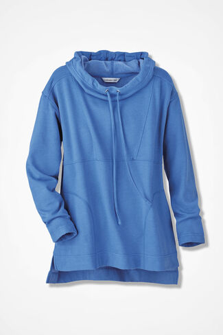 Colorwash Fleece Cowl Pullover, Antique Blue, large