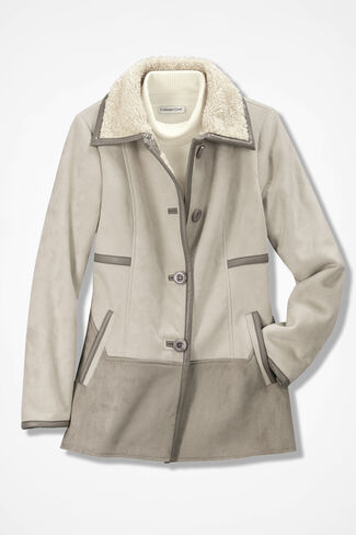 Two-Tone Faux Shearling Jacket, Taupe, large