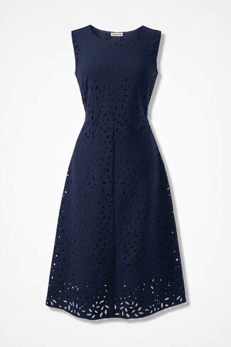 Peeking Petals Fit-and-Flare Dress, Navy, large