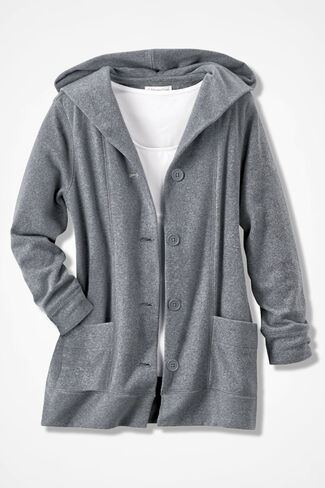 Crème de la Fleece Hooded Jacket, Mid Heather Grey, large