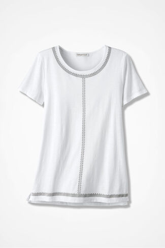 Embroidered Slub Tee, White, large
