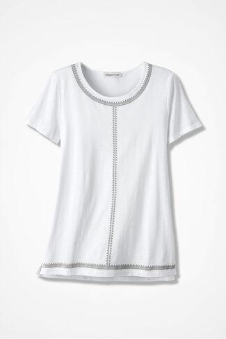 Embroidered Slub Tee, White, large