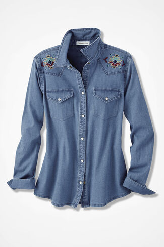 Embroidered Denim Shirt, Light Wash, large