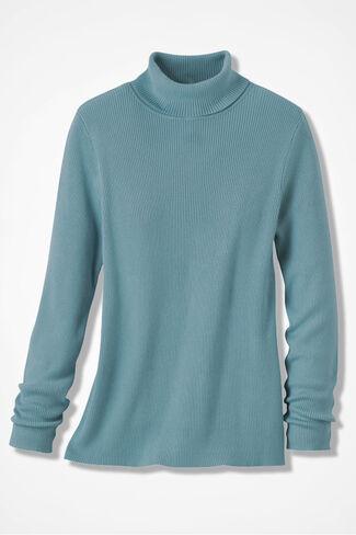 Classic Turtleneck Sweater, Robins Egg, large