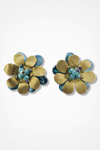 Artisan Flower Earrings, Blue Multi, large