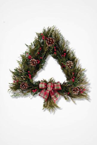 Trimmed Tree Wreath, Green, large
