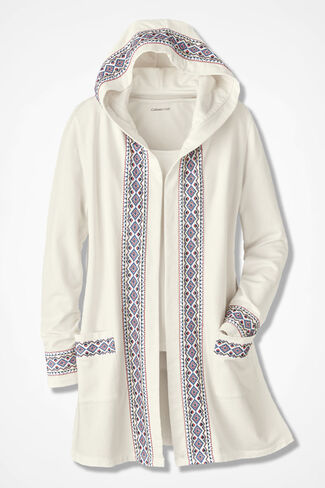 Spirit French Terry Cardigan, Ivory, large