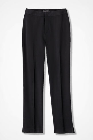 Stretch Gabardine Ankle Pants, Black, large