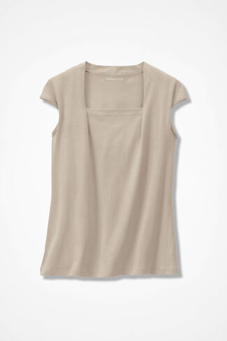 Anytime Square Neck Tank, Sand, large