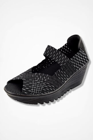 """Halle"" Wedges by Bernie Mev®, Black Silver, large"