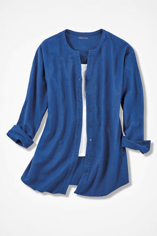Crinkle Cotton Button-Front Tunic, Cobalt, large