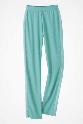 Two-Tone French Terry Pull-On Pants, Aquamarine, large