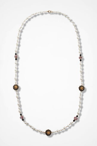 Pearls and Fleurs Necklace, Gold, large