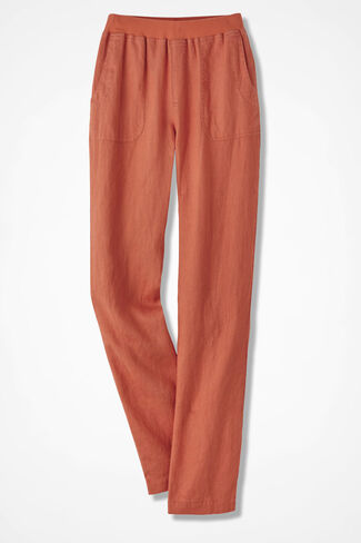 Easy Linen Pull-On Pants, Paprika, large