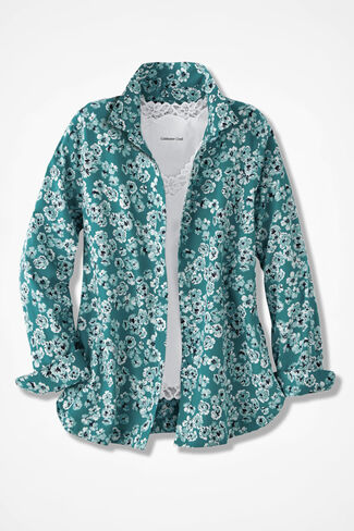 Vintage Floral Print Easy Care Shirt, Teal, large