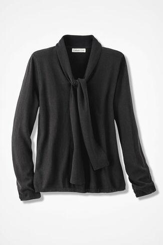 Soft Tie-It Sweater, Black, large