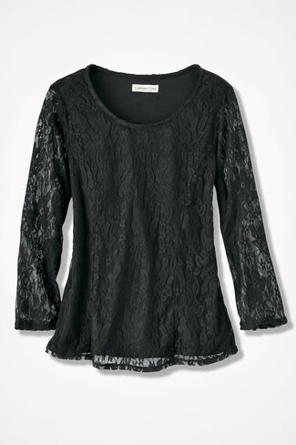 Stretchy Lace Tee, Black, large