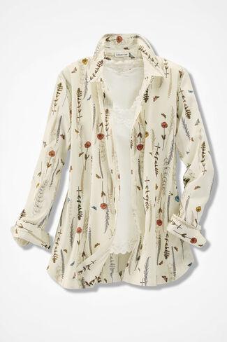 Fieldgrass Print Easy Care Shirt, Antique White, large