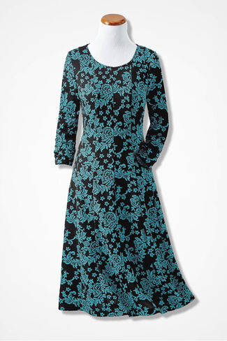 Fit-n-Flare Jacquard Dress, Teal Multi, large