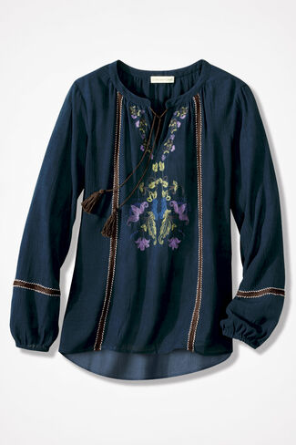 Blue Ridge Embroidered Top, Teal, large