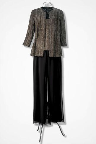 Celebration 3-Piece Pants Set by Alex Evenings, Black Multi, large