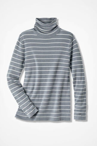 Striped Classic Turtleneck, Pewter, large