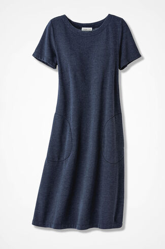 Colorwashed Fleece Skimmer Dress, Navy, large