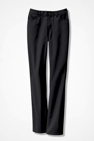 Washed CottonLuxe® Straight-Leg Pants, Black, large