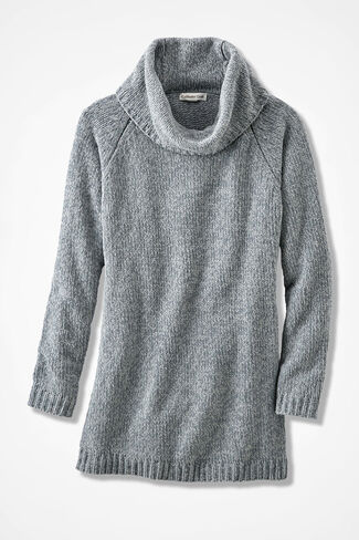 Oversized Chenille Sweater, Mid Heather Grey, large