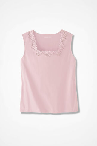 Lacy Square Neck Tank, Petal Pink, large