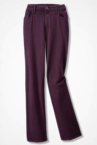 Knit Denim Straight-Leg Jeans, Blackberry, large