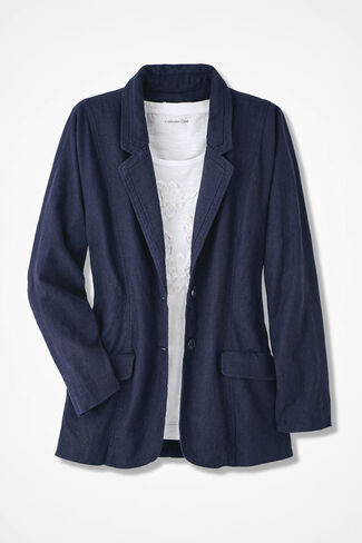 Oversized Linen Blazer, Navy, large