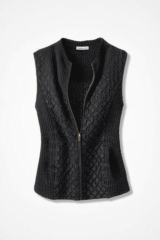 Crinkle Sueded Vest, Black, large