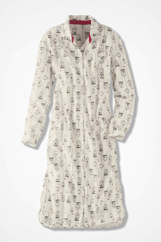 Birdcage Flannel Sleep Shirt, Ivory, large