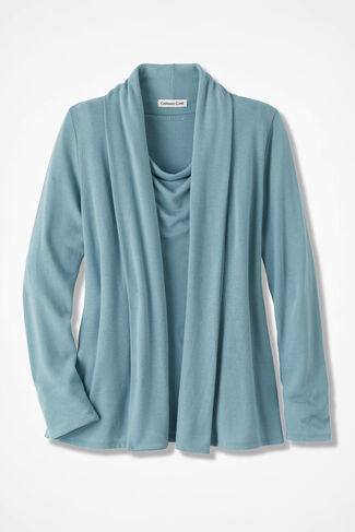 Soft Drape Cardigan, Robins Egg, large