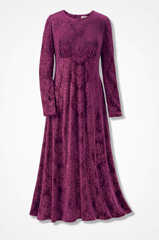 Velvet Burnout Dress, Mulberry, large