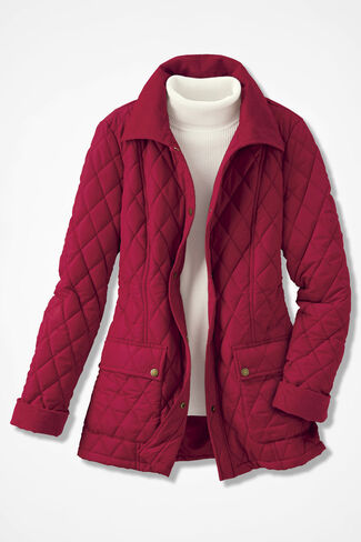 Quilted Barn Jacket, Dover Red, large