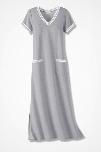 French Terry Maxi Dress, Light Grey Heather, large