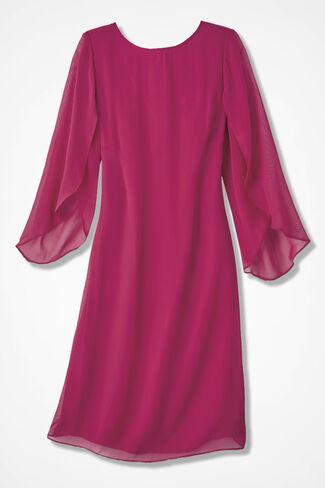Center Stage Chiffon Dress, Raspberry, large