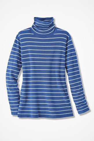 Striped Classic Turtleneck, Cobalt, large