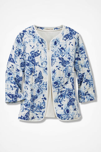 Monarch Garden Jacket, Blue/White, large