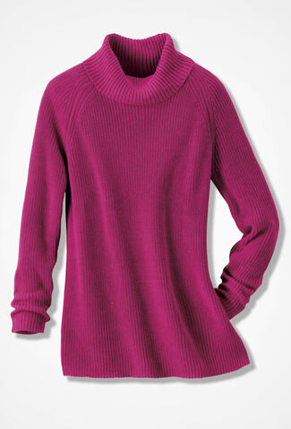 Shaker Turtleneck Tunic, Sangria, large